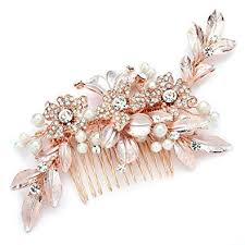 Mariell <b>Designer Bridal Hair</b> Comb with Hand Painted Rose Gold ...