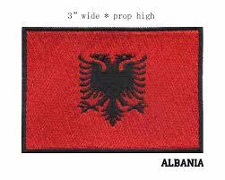 "3"" wide Albania <b>embroidery</b> flag <b>patch</b> black border <b>iron</b> on backing ..."