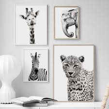 Black White <b>Animal giraffe zebra Elephant</b> Wall Art Canvas Painting ...