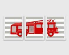 FIRE TRUCK <b>Wall Art</b>, Fire Truck Nursery Decor, <b>CANVAS</b> or <b>Prints</b> ...