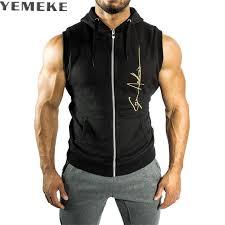 <b>YEMEKE Mens</b> Sleeveless Hoodies Fashion Casual Hooded ...