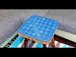 Джинсовая плетёная <b>подушка</b> на табурет или офисный <b>стул</b> ...