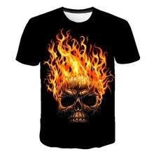 Short sleeve t-shirt with 3D <b>skull</b> print, comfortable breathable ...