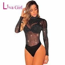 <b>Liva Girl Black</b> Mock Neck Sexy <b>Sheer</b> Bodysuit Women Perspective ...