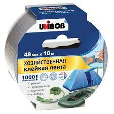 <b>Лента клейкая Unibob</b> Хозяйственная, 48 мм х 10 м, серая ...