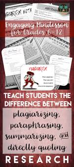 best ideas about high school reading independent plagiarism minilesson for middle and high school students