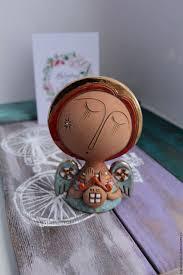 Купить Керамическая <b>фигурка Ангел</b> с домиком - коричневый ...