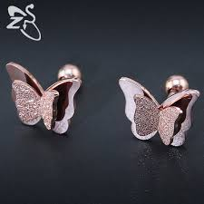 2019 New Butterfly Earrings Rose Gold Color Stainless Steel Stud ...
