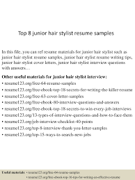 top8juniorhairstylistresumesamples 150730023746 lva1 app6892 thumbnail 4 jpg cb 1438223914