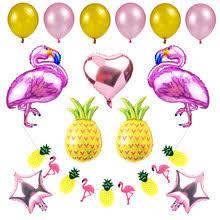 35pcs summer party decoration set balloon monstera leaves honeycomb pineapple parrots flamingo pineapple garland tropical luau