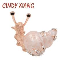 <b>CINDY XIANG 2 Colors</b> Available Rhinestone Snail Brooches for ...