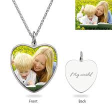 <b>Heart</b> Engraved Epoxy Color Photography Necklace In <b>925 Sterling</b> ...