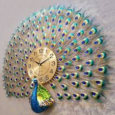 <b>Creative Metal</b> Auspicious Diamond Peacock <b>Big Wall</b> Clocks ...