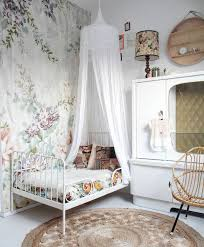 adorable vintage inspired feminine girls room with floral wallpaper and ikea minnen bed bedroomadorable eames style