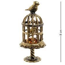 "Am-1883 Фигурка ""Птички в Клетке"" (Латунь, Янтарь ..."