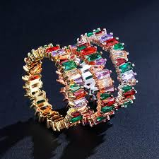 Colorful Women <b>Rainbow Baguette CZ</b> Ring <b>Cubic Zirconia</b> Gold ...