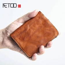 dompet <b>AETOO Original handmade retro</b> men's short leather wallet ...
