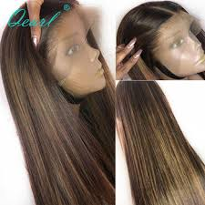 Straight Lace Front Human Hair Wigs PrePlucked Glueless Ombre ...
