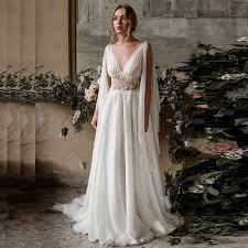 <b>LORIE Beach Wedding Dress</b> 2019 Cap Sleeve A Line Chiffon ...