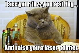 Meme Maker - I see your fuzzy on a string... And raise you a laser ... via Relatably.com