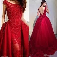 <b>Wine Red Beading Appliques</b> Tulle Overskirt Evening Dresses 2019 ...