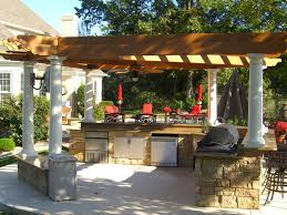 backyard patio grill brick outdoor this pergola caps a beautifully designed outdoor kitchen here again