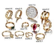 12 Pcs/<b>set</b> Vintage Colorful Stone Knuckle Finger Ring Crystal ...
