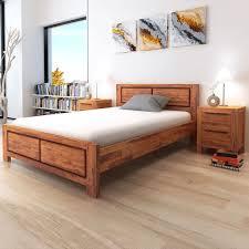 Home & Garden Beds & <b>Bed Frames</b> vidaXL <b>Solid Acacia</b> Wood Bed ...