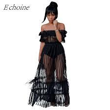 <b>Echoine Ruffle</b> Sheer Mesh Dress Plus Size <b>Sexy</b> Slash Neck Off ...