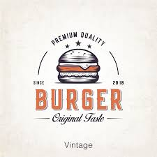 Fast food <b>burger Retro</b> logo, old graphic <b>vintage style</b>, top drawing ...