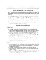 social media marketing professional resume sample eager world it