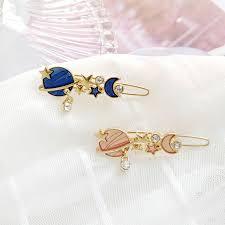 <b>Sweet</b> Blue <b>Pink Crystal</b> Universe Earth Star Moon Hairpin Hair Clip ...