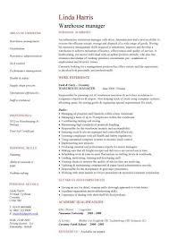 test manager cv warehouse manager cv management resume format