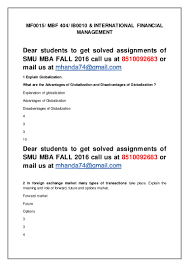 mf international financial management th sem mba fall sm