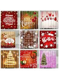 <b>Christmas Print Waterproof</b> Polyester Bathroom Shower Curtain ...