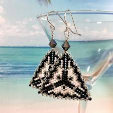 <b>Silver</b>, <b>Black</b> and <b>White Contemporary</b> Triangle Earrings – Beaded ...