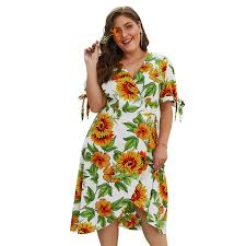 <b>Hot Sale Women's Summer</b> Sun Flower Print Short Sleeve Plus Size ...