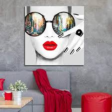 Contemporary Wall Art Modern Fashion Women with ... - Amazon.com