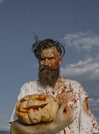 <b>Halloween</b> Zombie Hipster With Bloody Beard And Red <b>Blood</b>. <b>Man</b> ...