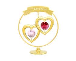 "Пара сердец в круге с кристаллами SWAROVSKI ""I <b>LOVE YOU</b> ..."
