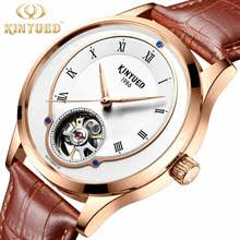 KINYUED brand <b>men</b> automatic leather watch <b>30M waterproof</b> ...