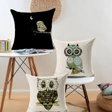 <b>Hot Sale Lovely Owl</b> Cushion Cover Cotton Linen Decorative Throw ...