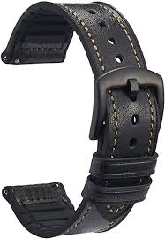 Quick Release Watch Band - <b>Genuine Leather Silicone</b> Rubber ...