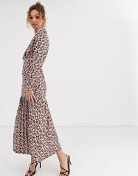 ASOS DESIGN <b>floral print long sleeve</b> maxi tea dress | ASOS