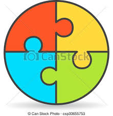clipart vector of four   process puzzle diagram isolated on    four part process puzzle diagram   csp