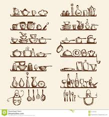cooking utensils shelves kitchen utensils on shelves sketch drawing stock photos