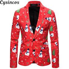 2019 <b>CYSINCOS</b> Newest Christmas Suit <b>Men Slim Fit</b> Fashion Coat ...