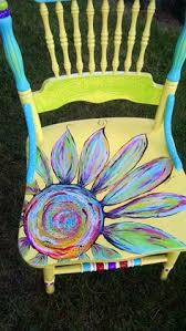 yellow flower chair by carolyns funky furniture carolyn funky furniture