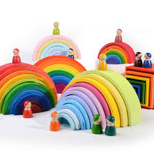 Large Wooden <b>Rainbow Blocks 12 Color</b> Children's German Early ...