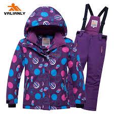 <b>VALIANLY 2019</b> Girls Ski Suit Kids Ski Jacket + Strap Pants <b>Winter</b> ...